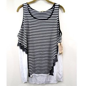Democracy Stripe Pullover Top Lace Trim Sleeveless